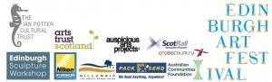 Edinburgh Art Festival, Ian Potter Cultural Foundation Trust, Australian Communities Fund, Auspicious Arts Projects, Arts Trust Scotland, Federation Square, Nilumbilk Shire Council, Pack n Send Eltham, Cross Country Rail, Scotrail