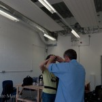 Andrew assisting participants with adjusting the camera height