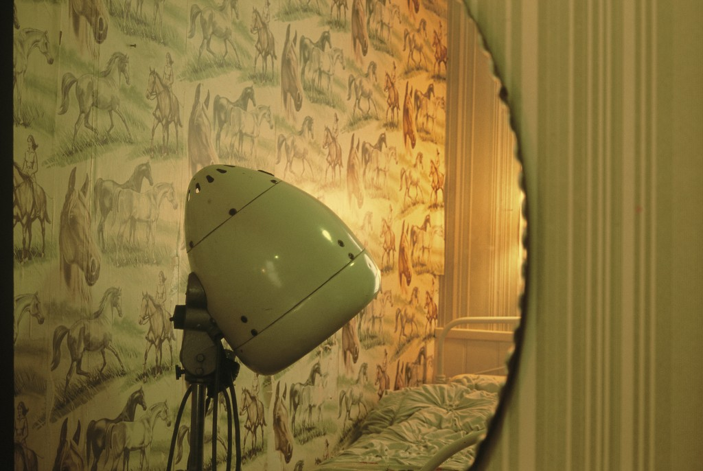 Leanora's Room by Leanora Olmi. An image of the reflection of a mirror showing the wall and part of a bed of a bedroom. The wallpaper is green and has a pattern of horses, and in front of it we see the head of a green old-fashioned lamp.